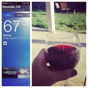 I celebrated the warmer weather via a glass of wine