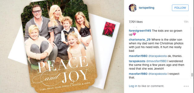 tori spelling christmas card hot moms